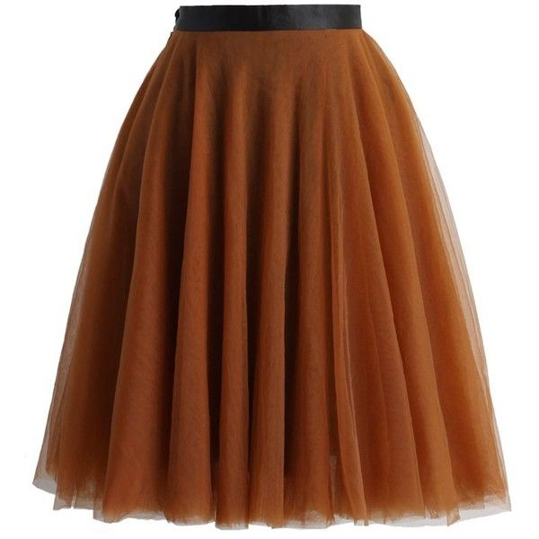 Chicwish Amore Mesh Tulle Skirt in Amber (€45) ❤ liked on Polyvore featuring skirts, chicwish, brown, layered skirt, tulle ballet skirt, brown tulle skirt, ballet skirt and knee length tulle skirt