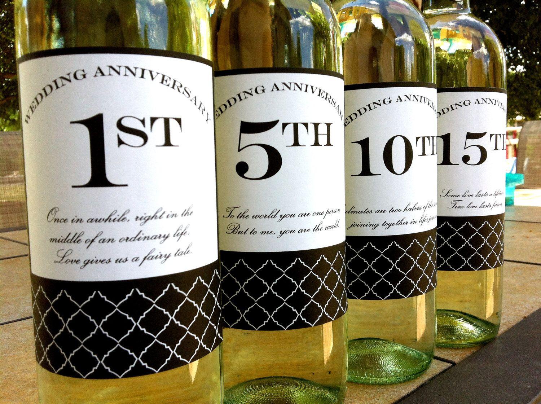 diy printable wedding anniversary wine labels set of 4