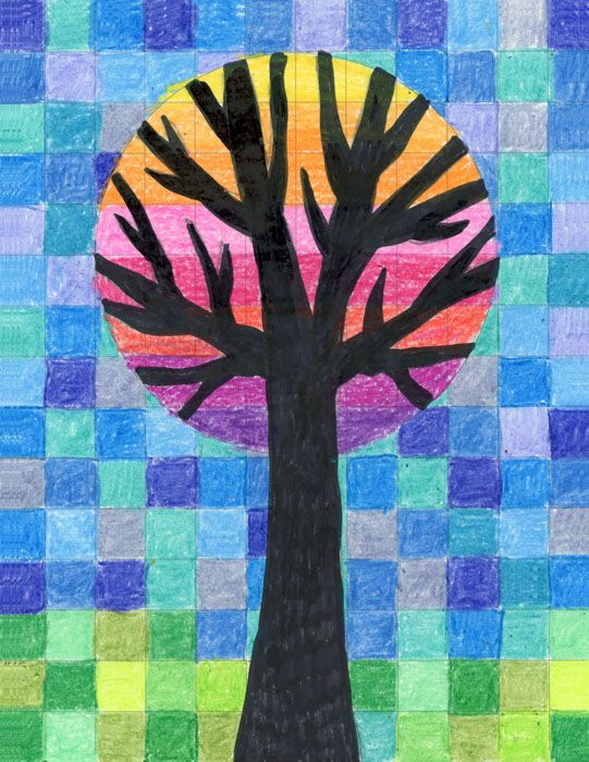 Abstract Grid Tree · Art Projects for Kids