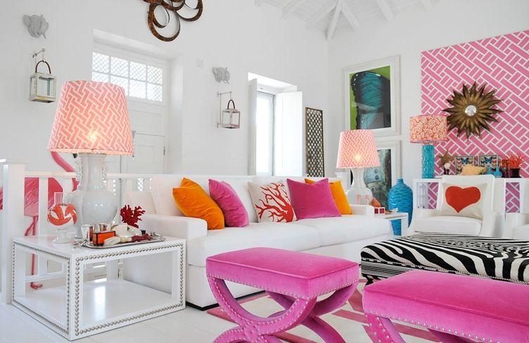 Color Love Pink Orange Living Room Orange Living Room Turquoise Pink Living Room #pink #and #white #living #room
