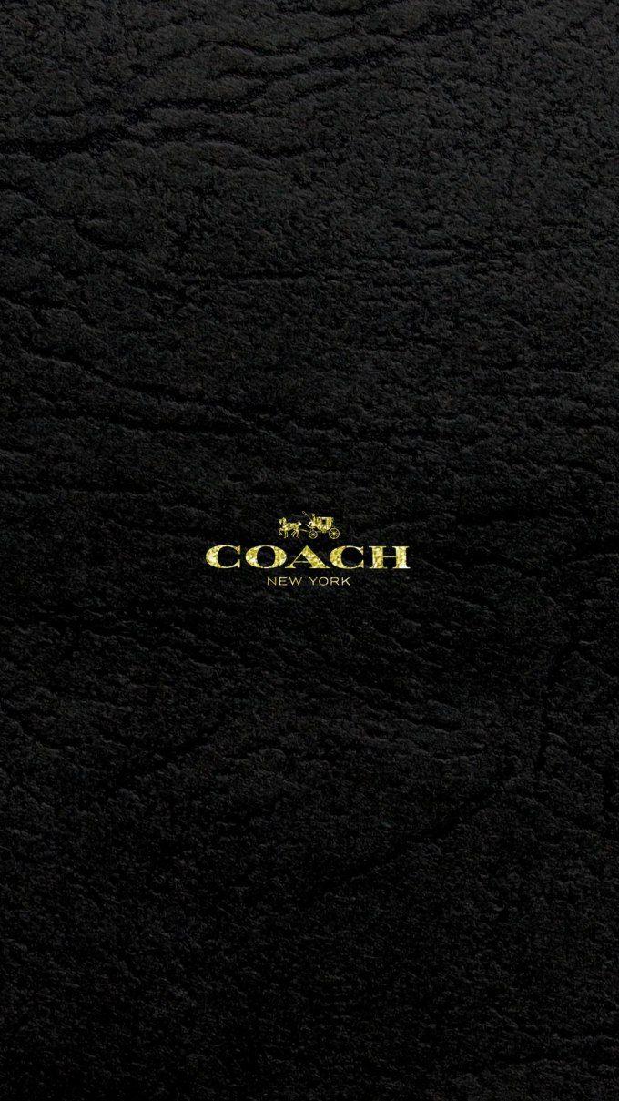 コーチ キラキラゴールドロゴ ブラックレザー ロゴ 壁紙 ロック