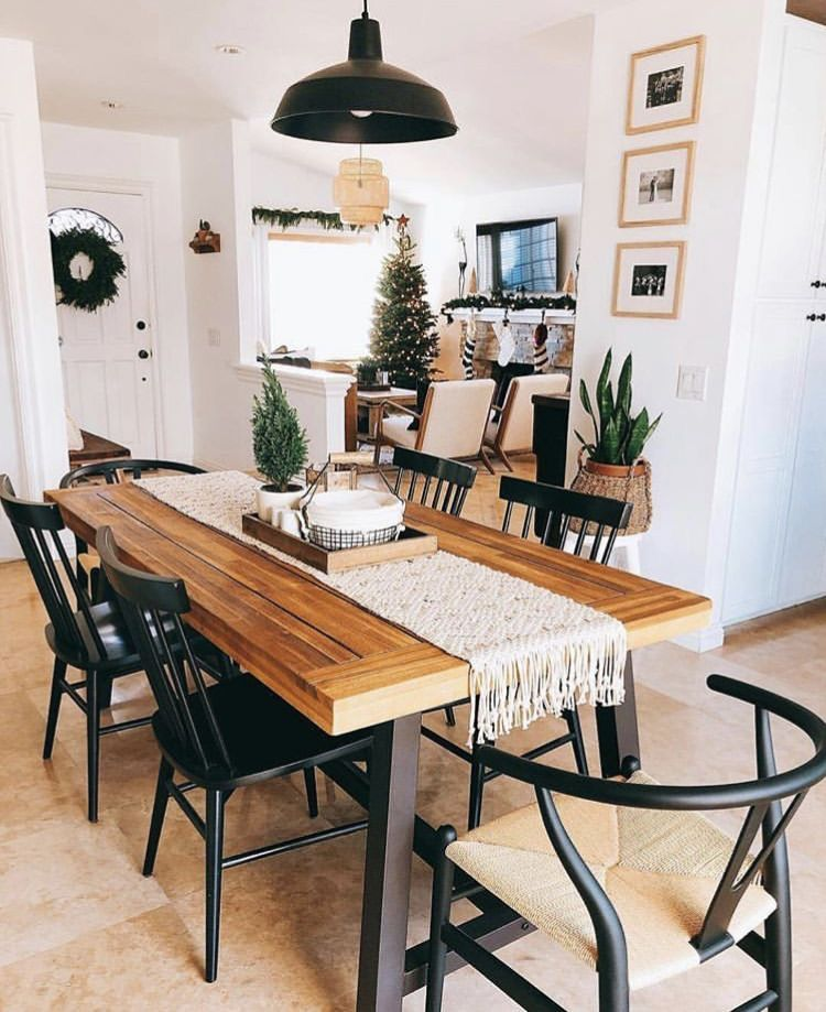 Wooden Dining Room Table Green Plants White And Black Decor Interior Design Minimalist Rustic Dining Room Dining Room Inspiration Dining Room Design #wooden #living #room #ideas