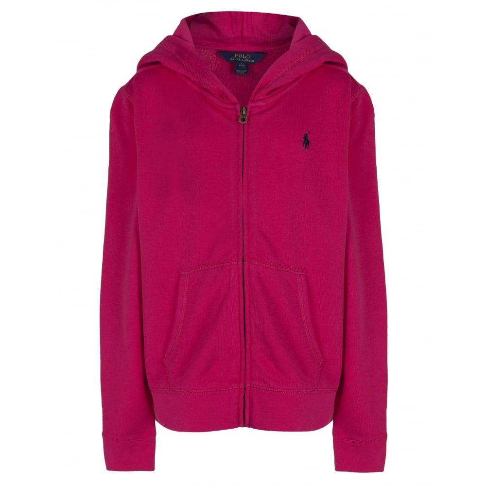 c63c10fe4 Ralph Lauren Girls Sports Pink Hoodie with Zip Fastening | Ralph ...