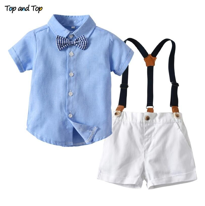 c50602bb5 Top And Top Summer Fashion Children Boys Clothes Sets Short Sleeve Striped  Shirt+Overalls Casual