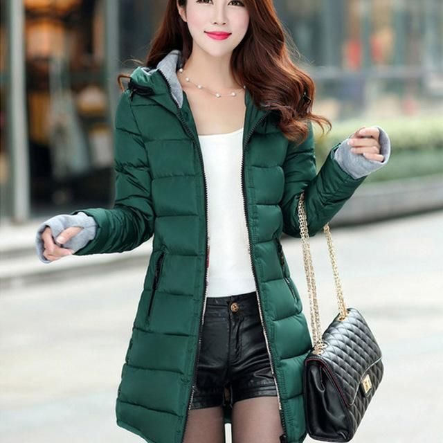 3fcfbeb4346 Women Winter Hooded Warm Coat Slim Plus Size Candy Color Cotton Padded  Basic Medium-Long Jacket