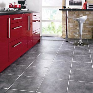 5100db7dcef This Wickes Anthracite Dark Grey Matt Floor Tile 330x330mm perfectly  compliments the red cabinets.