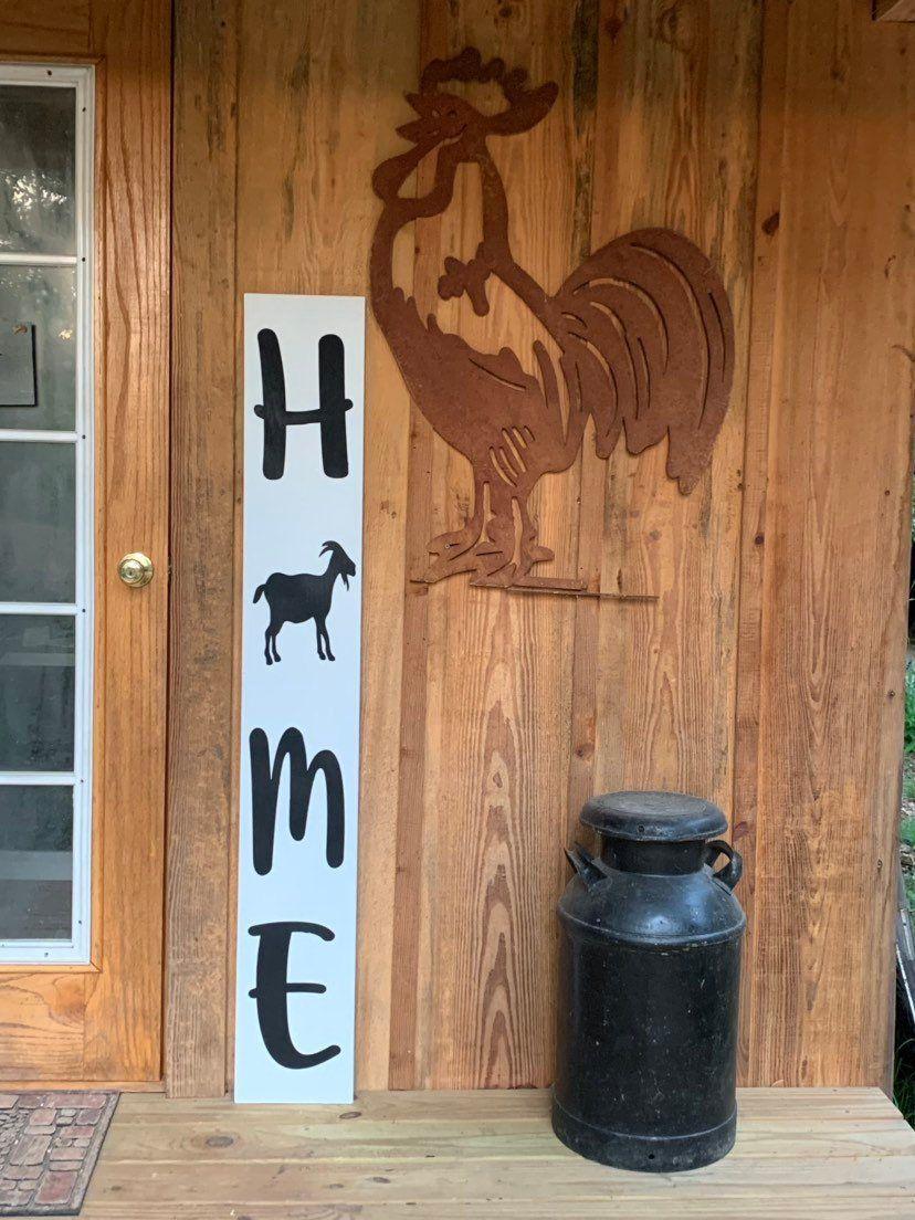 Home farmhouse sign goat sign large porch signage