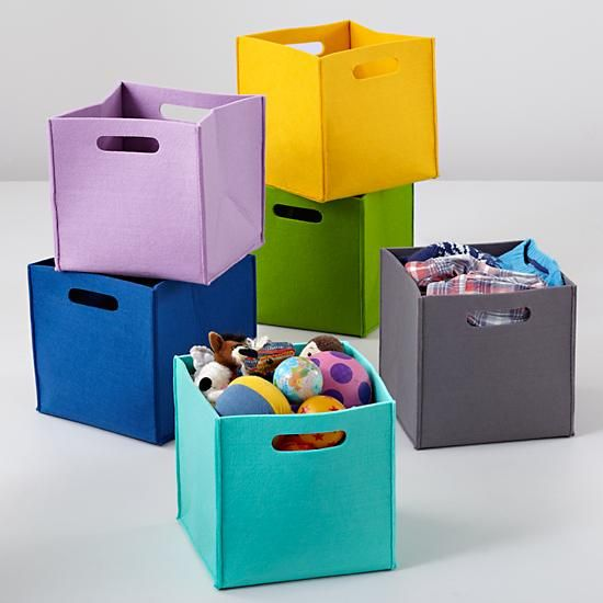Genius Idea Ikea Expedit Shelves With Baskets For Storage: Kids Storage: Colorful Felt Cube Bins In