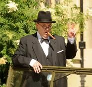 Winston Churchill impersonator for hire. Our Churchill impersonator can be hired in London and the UK.
