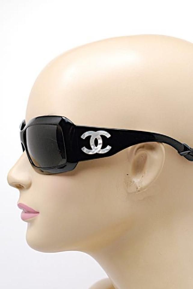 be412e42c6c Chanel CHANEL 5076-H Black SUNGLASSES w CC Mother-of-Pearl Logo ...
