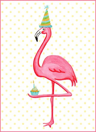 pink flamingo and cupcake birthday card carte de f te de flamant roses en cupcake camryn. Black Bedroom Furniture Sets. Home Design Ideas
