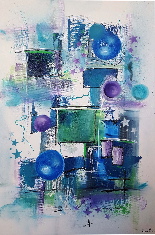 Peinture moderne acrylique et matière bleu turquoise vert violet ...