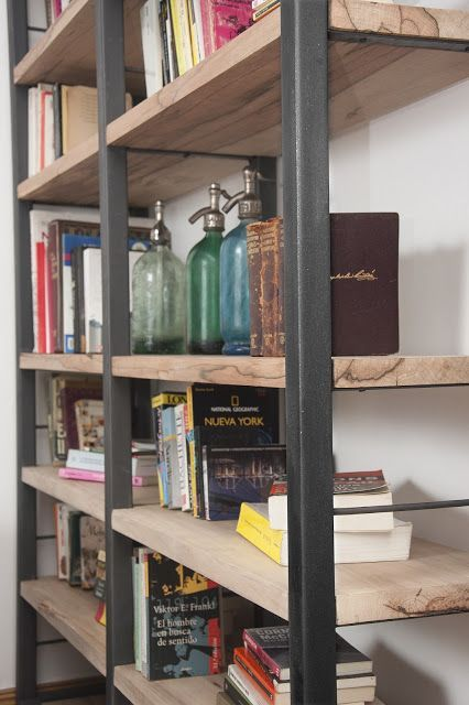 Estanteria industrial arquitectura e interiorismo loft - Estanterias modulares de madera ...