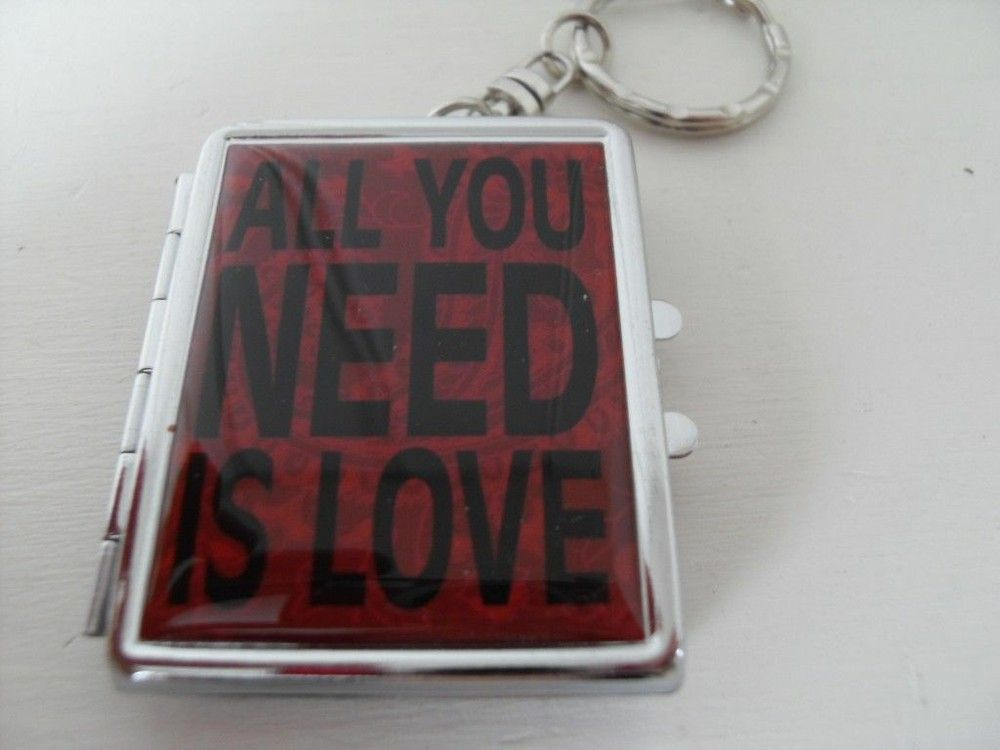 ALL YOU NEED IS LOVE RED PHOTO KEYRING WITH A MIRROR via     Bluelake Interiors. Click on the image to see more!