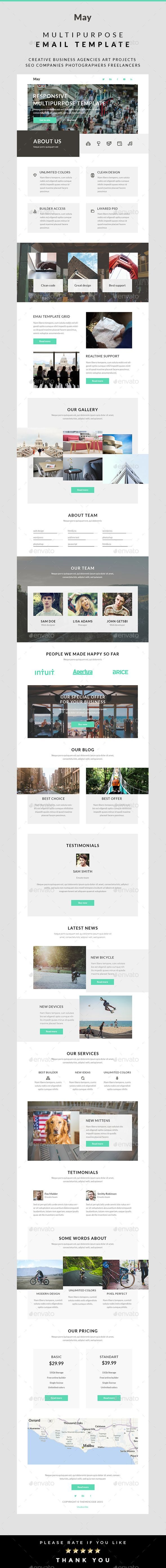 May – Multipurpose Email Template | Template, Fonts and Email design