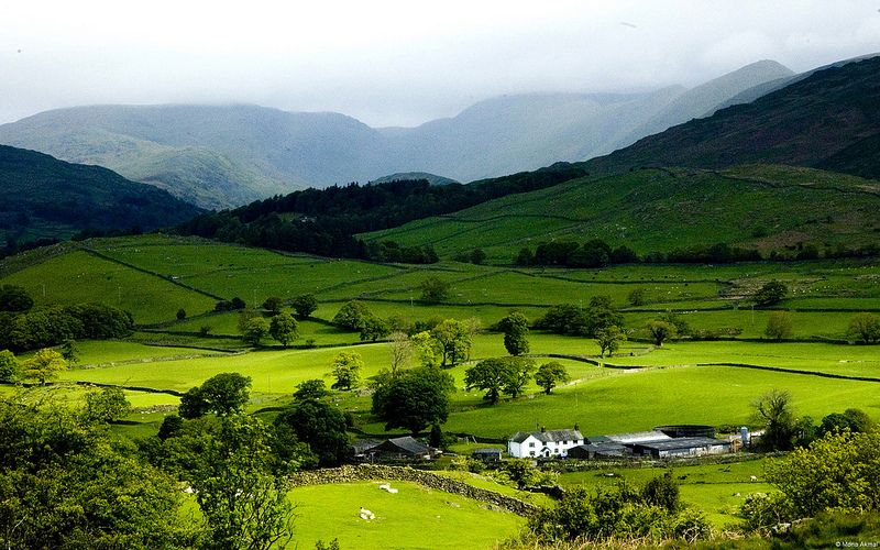 Grasmere Village Lake District Cumbria England Uk Countryside Wallpaper Mountain Landscape Scenery Wallpaper