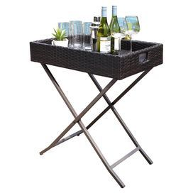 "Perfect as a portable serving tray or bar, this essential side table showcases a wicker-inspired top and sleek steel base.  Product: Side table Construction Material: Resin wicker and steelColor: BrownFeatures:  UV resistant Removable tray Folding stand for easy serving and storage  Dimensions: 32"" H x 28"" W x 18"" D"
