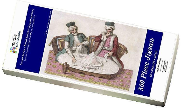 Jigsaw Puzzle-Two men having a Turkish breakfast of yogurt and buns-500 Piece Jigsaw Puzzle made to order #turkishbreakfast Jigsaw Puzzle-Two men having a Turkish breakfast of yogurt and buns-500 Piece Jigsaw Puzzle made to order