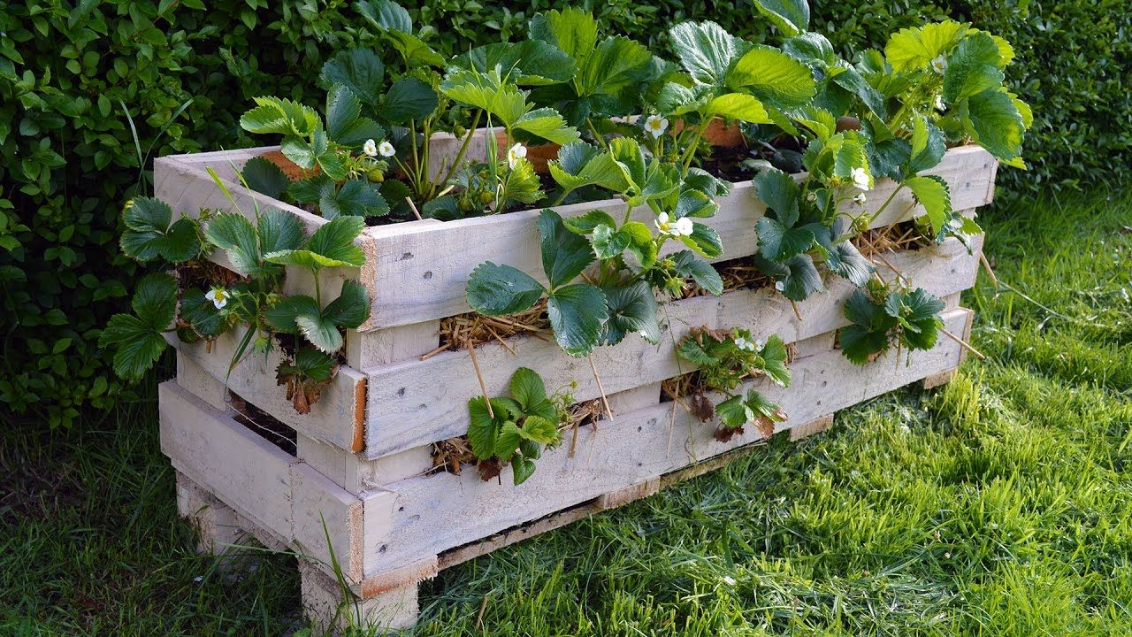 How to make a better Strawberry Pallet Planter - YouTube | yard and Planters Youtube on