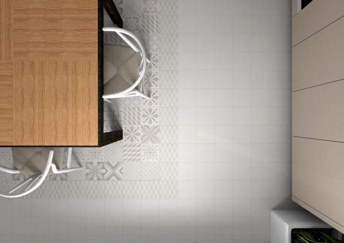 Decoceram Gres Cerame Emaille Decoceram Allevi Ivory Mix Decor 20x20cm Pf00010133 Decoceram Carrelage Interieur Classique Interieur Contemporain