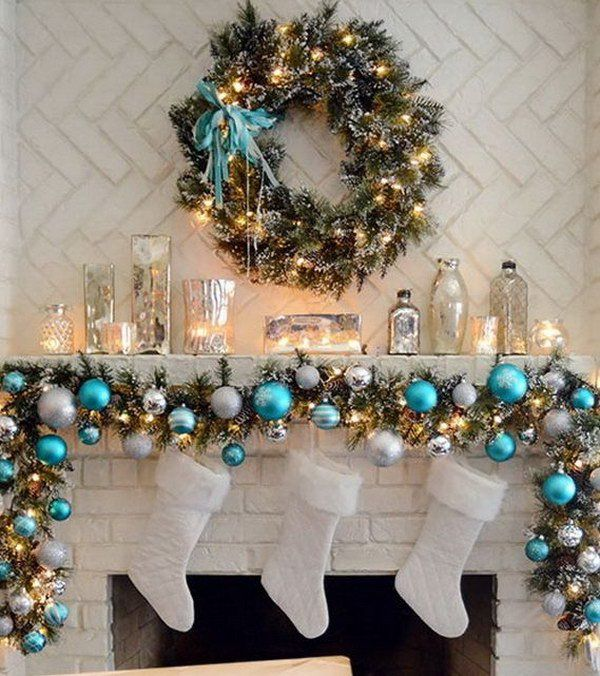 Elegant Christmas Mantel in Turquoise, White And Silver More