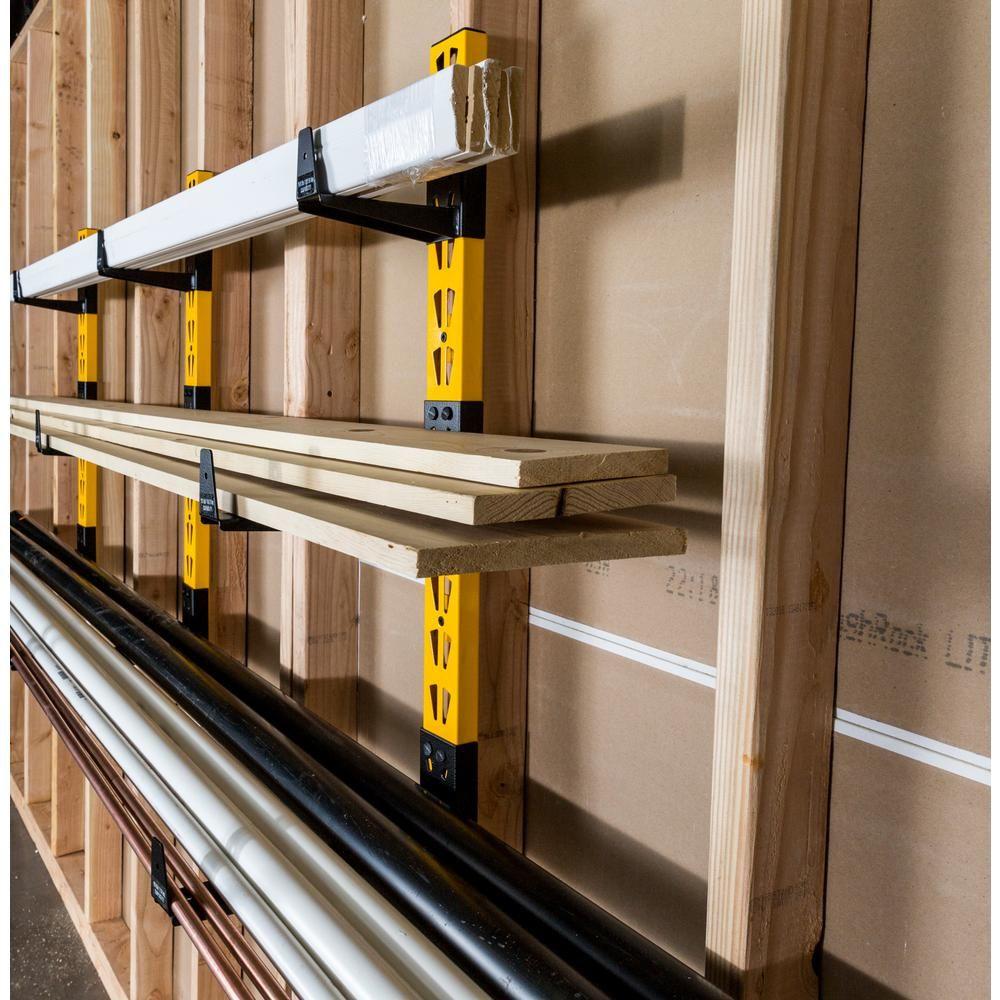 Dewalt 36 In H X 12 In D Wall Mount Cantilever Rack Garage Wall Shelf With 9 Brackets Dxstaclr The Home Depot In 2020 Garage Walls Lumber Storage Rack Wall Shelves