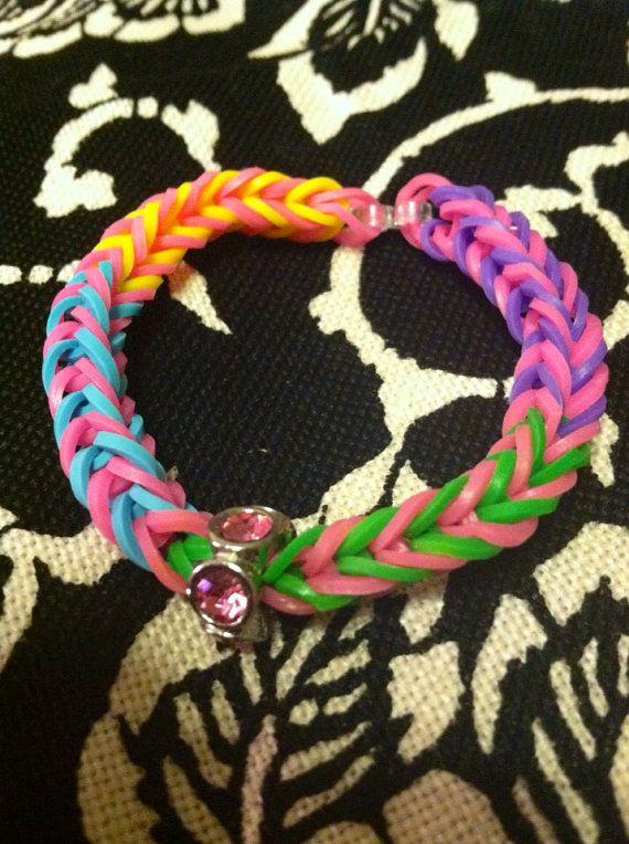 Rainbow Loom Crazy Bracelet With Cute Charm Fishtail Bracelet