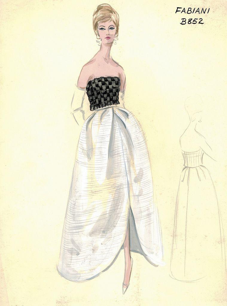 6131e4fad47 Коллекция эскизов из архива шикарного нью-йоркского универмага Bergdorf  Goodman представляет модели коктейльных и вечерних платьев от самых  именитых ...