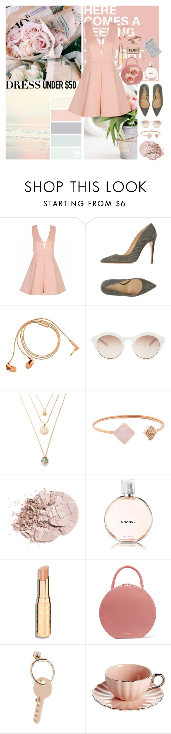 """Spring Pink (Dress Under $50 Contest)"" by cellycinderella ❤ liked on Polyvore featuring Armani Collezioni, Happy Plugs, self-portrait, Michael Kors, Chanel, Mansur Gavriel, Maison Margiela and Dressunder50"