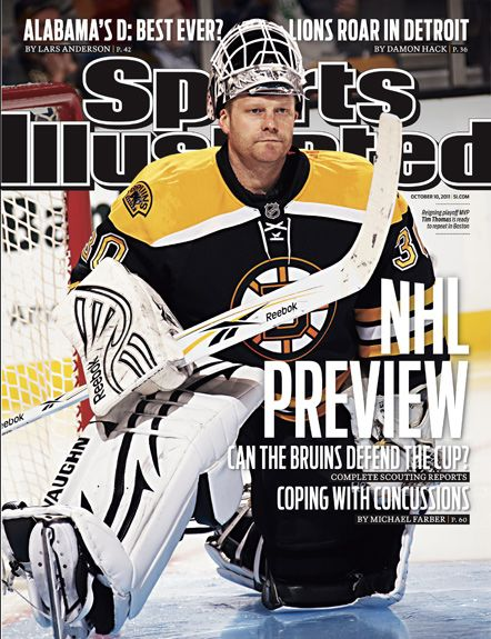 On the Cover: Tim Thomas, Hockey, Boston Bruins  Photographed by: Damien Strohmeyer / SI
