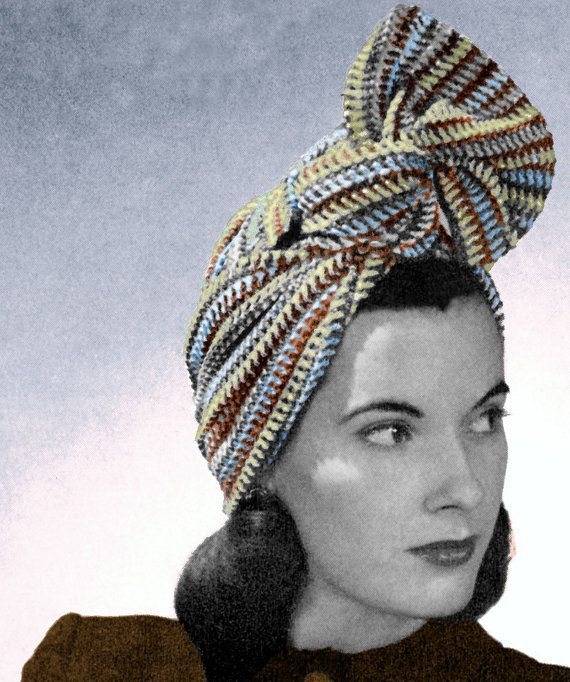 1940s Crochet Pattern Twist Turban Vintage Striped Head Scarf Wrap