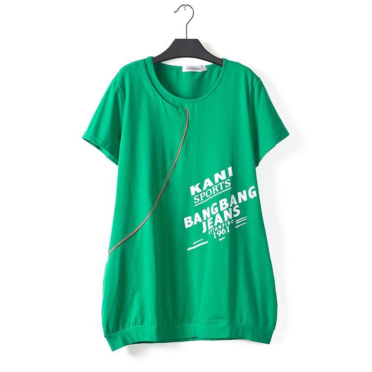 加大加肥胖MM大碼女裝2015新款A字寬松顯瘦字母圖案短袖圓領T恤