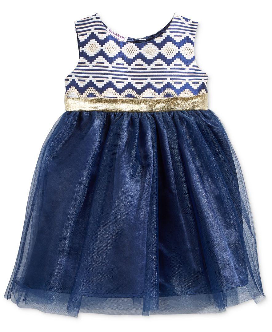 Blueberi Boulevard Brocade & Tulle Dress, Baby Girls (0-24 months)