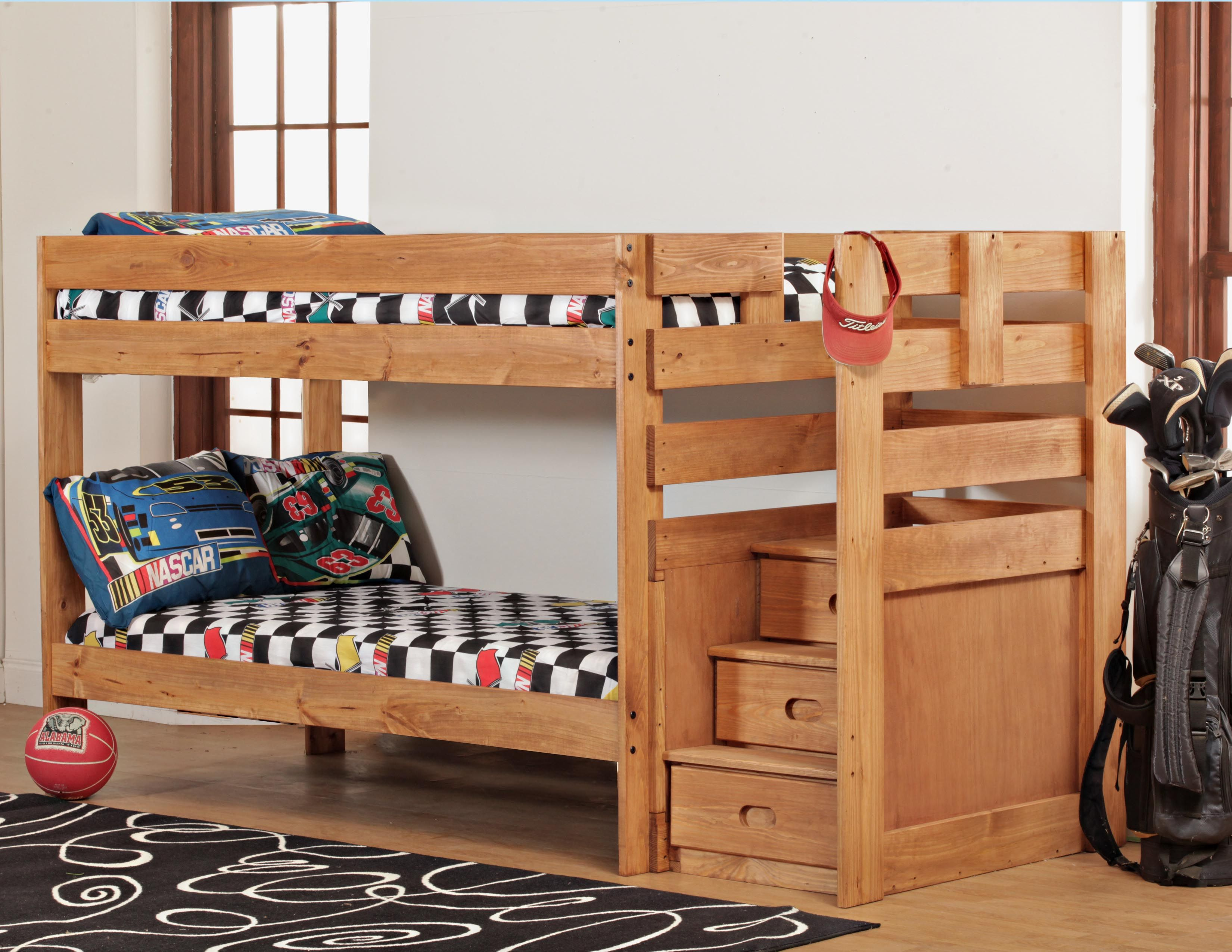 Rent 2 Own Catalog Twin Over Twin Staircase Bunkbed In Light