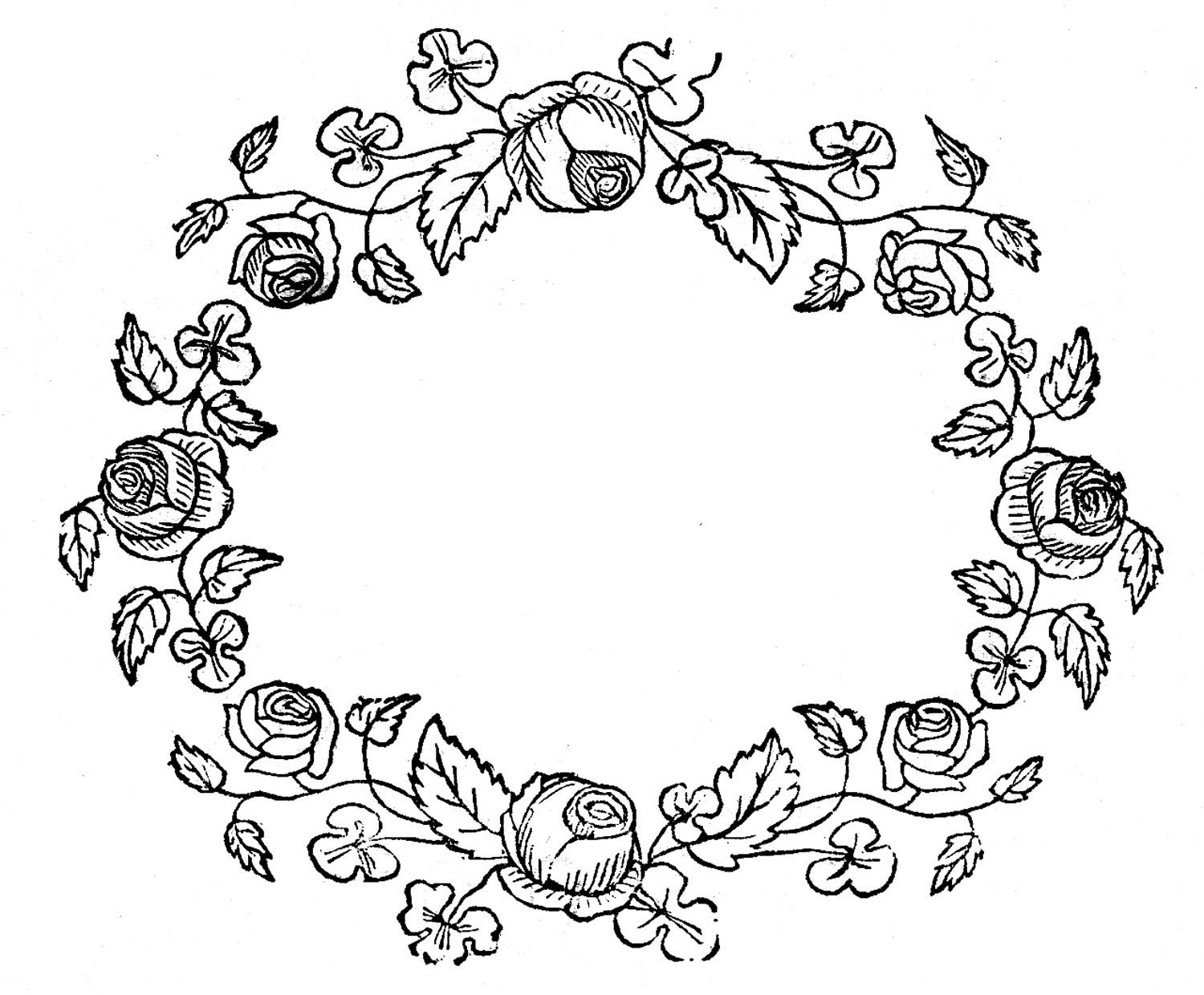 Royalty free images rose wreaths embroidery pattern tattoo