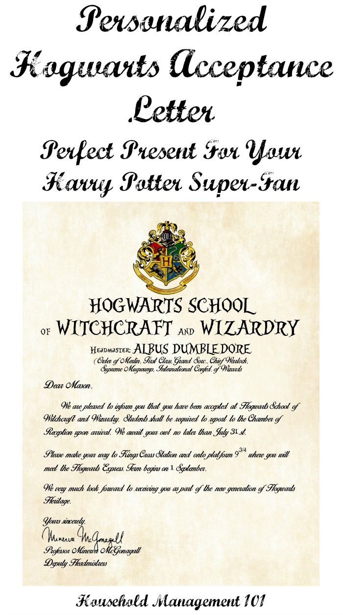 A personalized Hogwarts acceptance letter, perfect for an