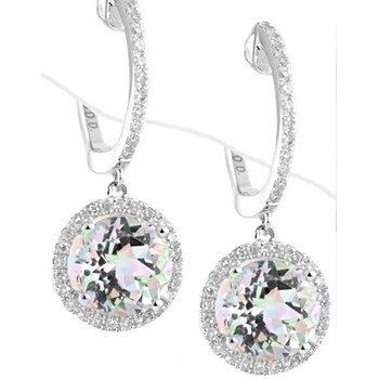 Round White Topaz & Diamond Dangle Drop Earrings by JewelryPoint