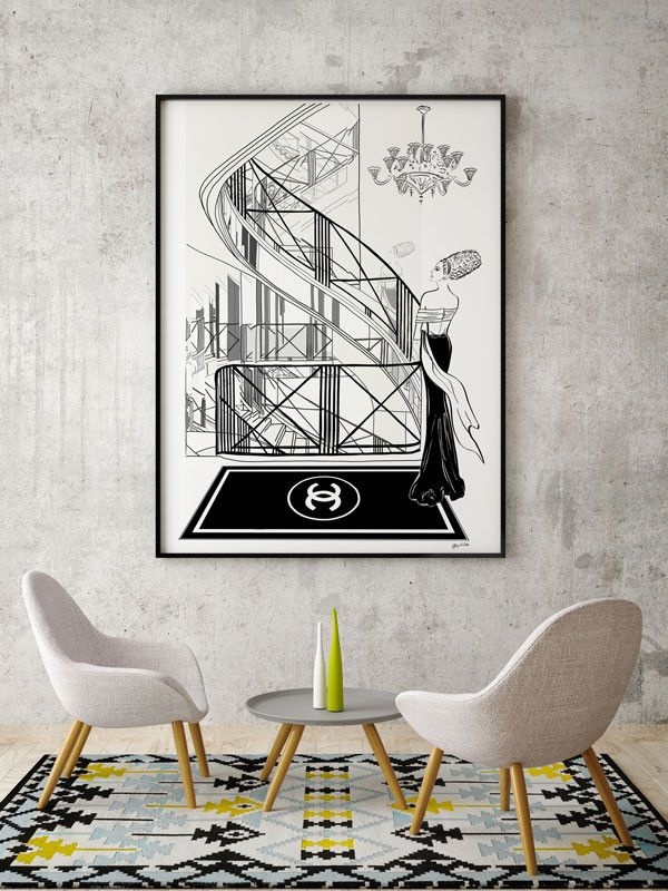 "31 Rue Cambon - Illustration - Framed Limited Edition Print – Tiffany La Belle "" 31 Rue Cambon "" illustration was inspired by the staircase designed by Gabrielle 'Coco' Chanel from her first store in Paris where she also worked and entertained.  This famous faceted mirrored spiral staircase connects all four levels of Coco's apartment and made it possible for her to stand in one spot and view her customers reactions to her new collections.  Did you see Coco in the illustration?"