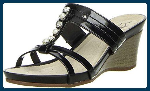 Vista Damen Pantoletten Schwarz, Größe:42, Farbe:Schwarz
