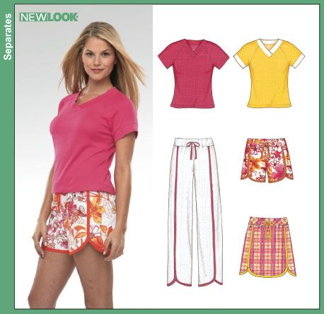 new look 6358 - misses stretch knit only, size 8-18, vee neck tee ...