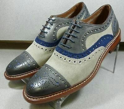 Men Multi Color Brogue Cap Toe Custom Oxford Lace Up Real Leather shoes