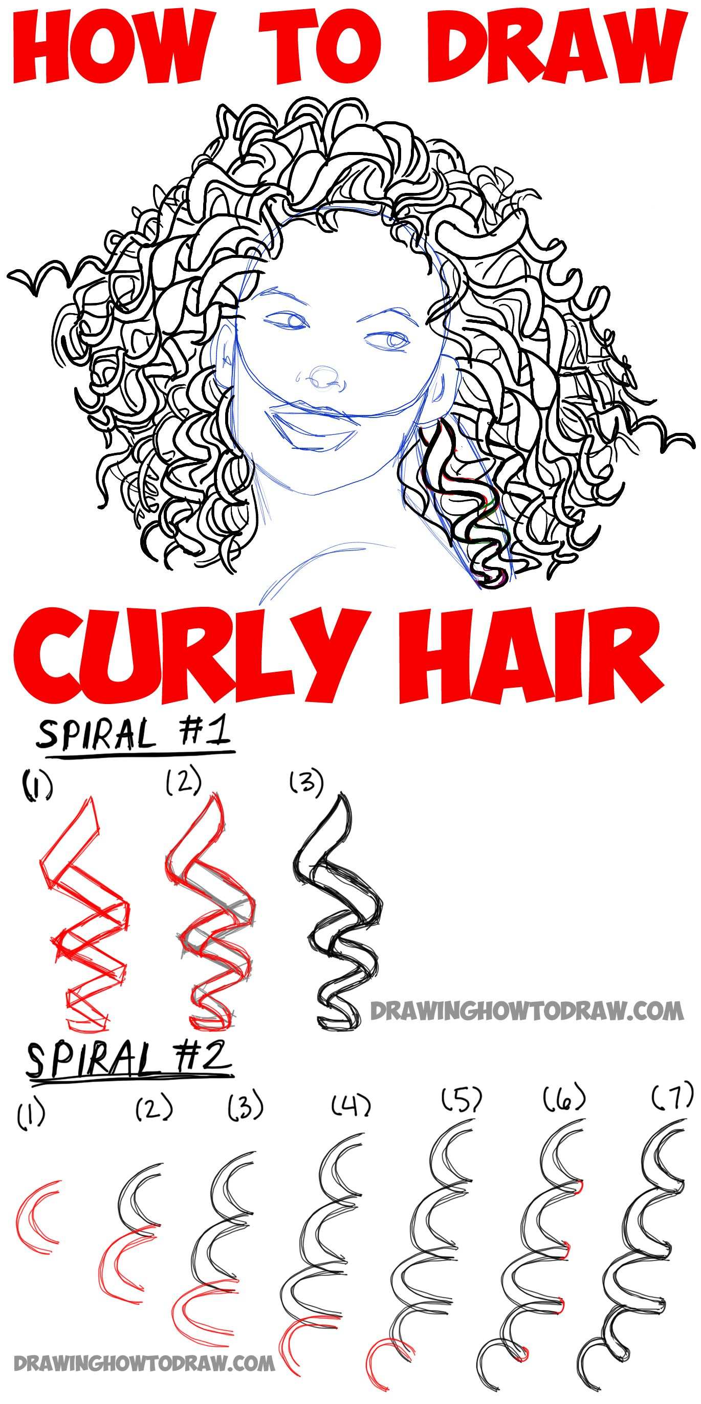 How To Draw Curly Hair Drawing Spiral Curls Tutorial How To Draw Step By Step Drawing Tutorials How To Draw Hair Curly Hair Styles Curly Hair Drawing