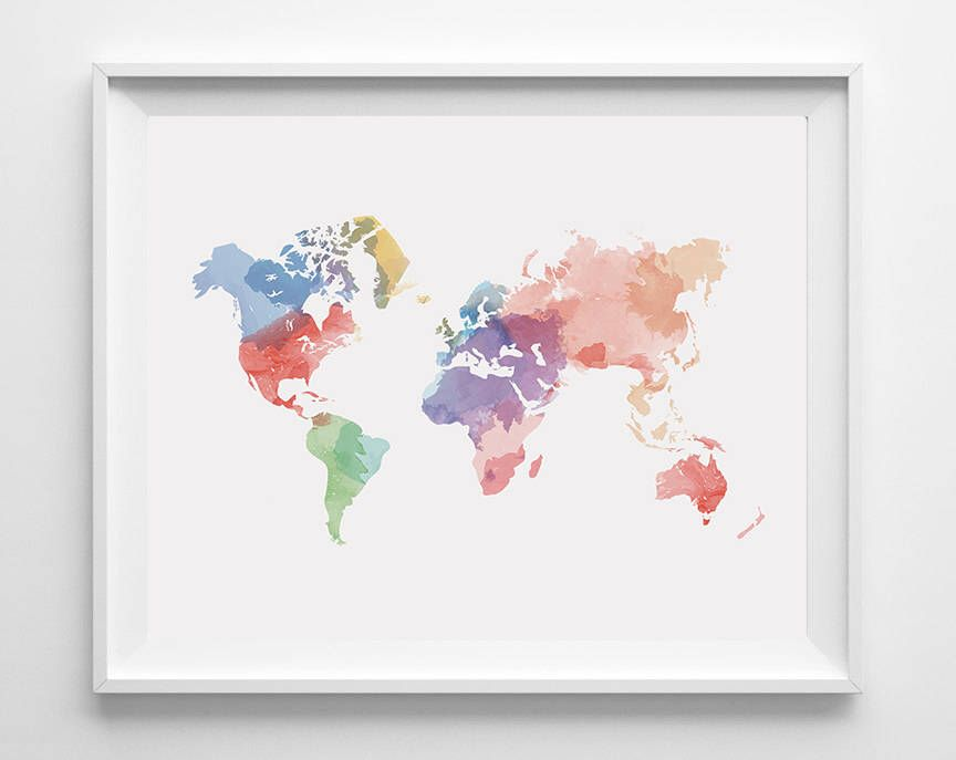 Watercolor world map watercolor wall art world map wall art map watercolor world map watercolor wall art world map wall art map printable gumiabroncs Image collections