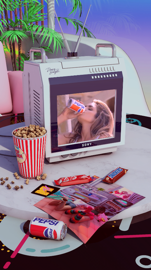 Retro Aesthetic Pepsi Cindy Crawford  by dennybusyet