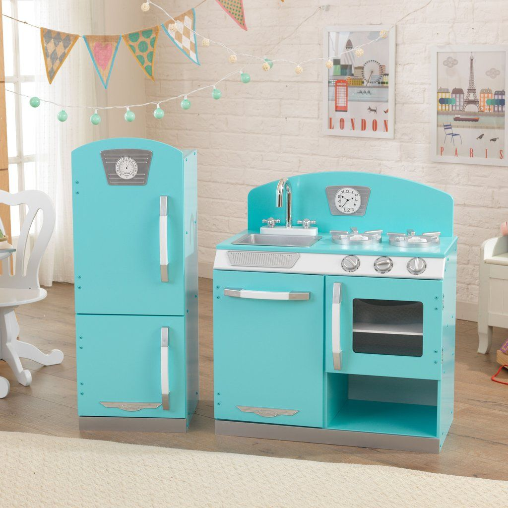 Blue Retro Kitchen And Refrigerator | Playhouse Kitchens | Pinterest