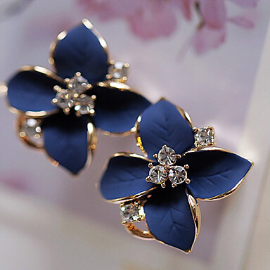Charming Women Lady Exquisite Blue Silver Plated Ear Stud Earrings