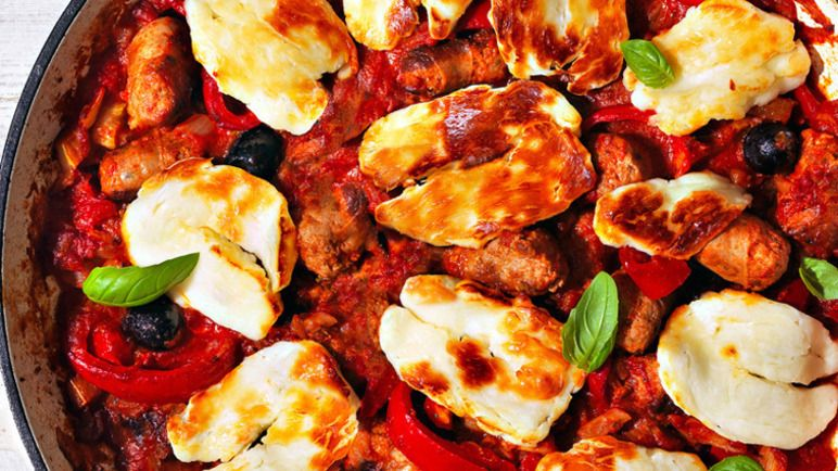 Glutenfree sausage and halloumi bake recipe with