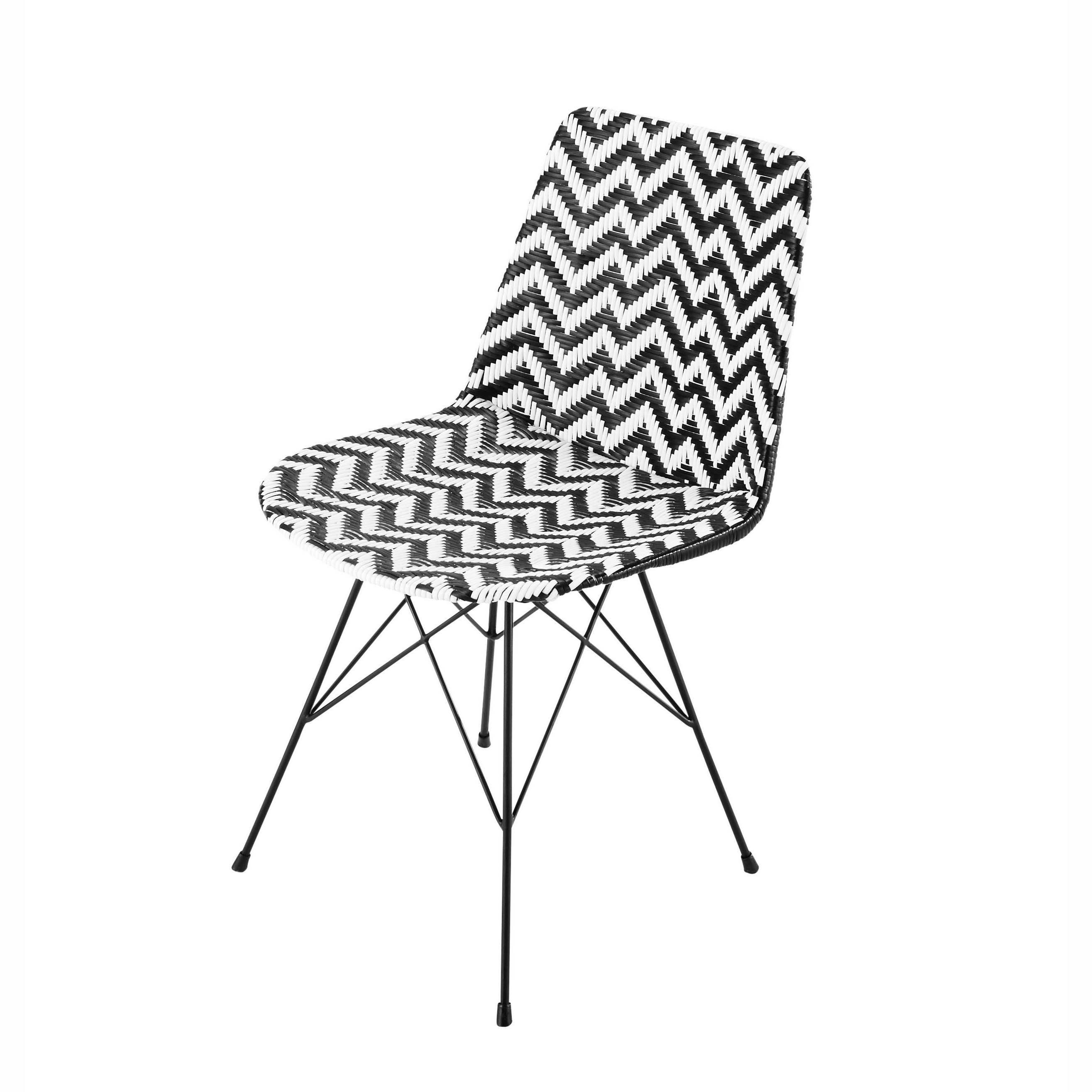 Wicker And Metal Chair In Black White Zigzag Chaise Metal Chaise Noire Chaise