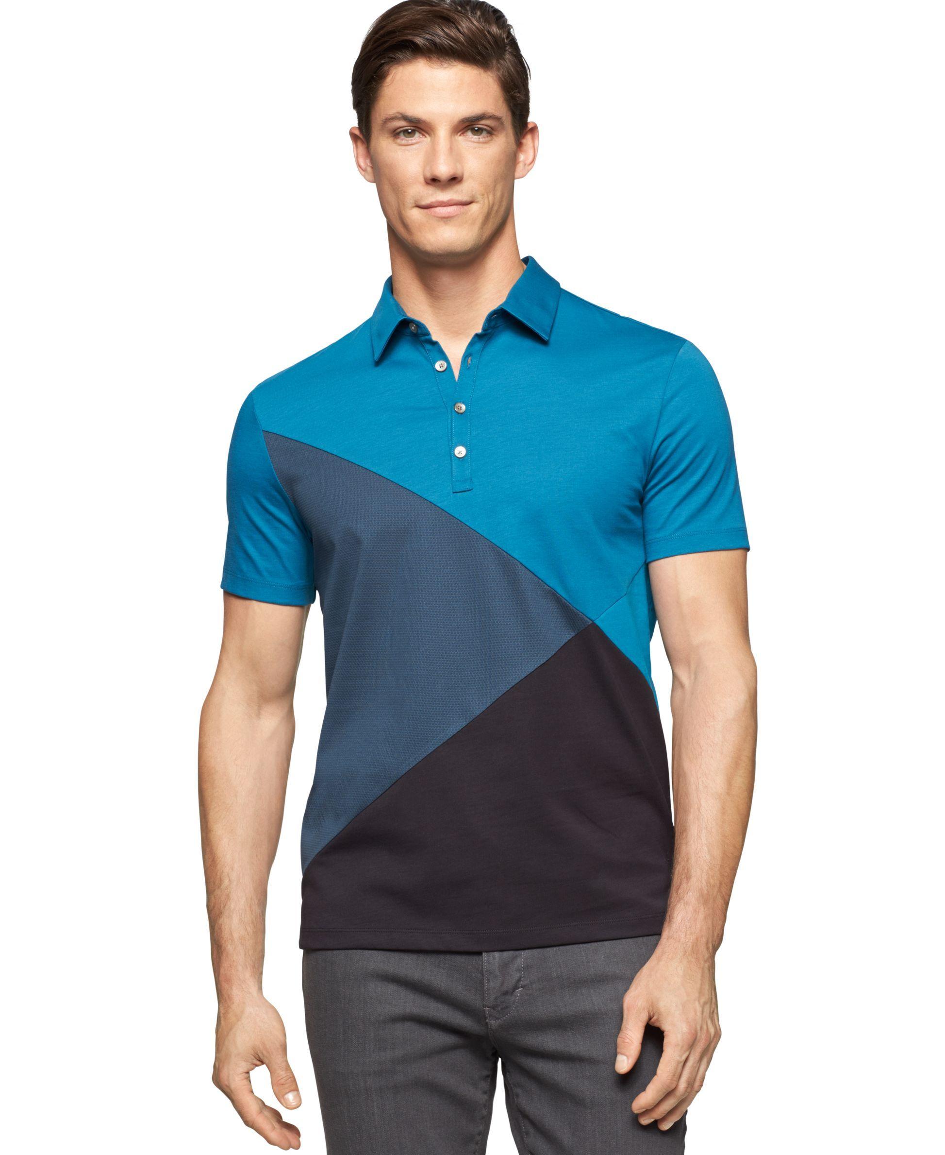 bf74c2a6eed6 Calvin Klein Jacquard Colorblock Jersey Polo