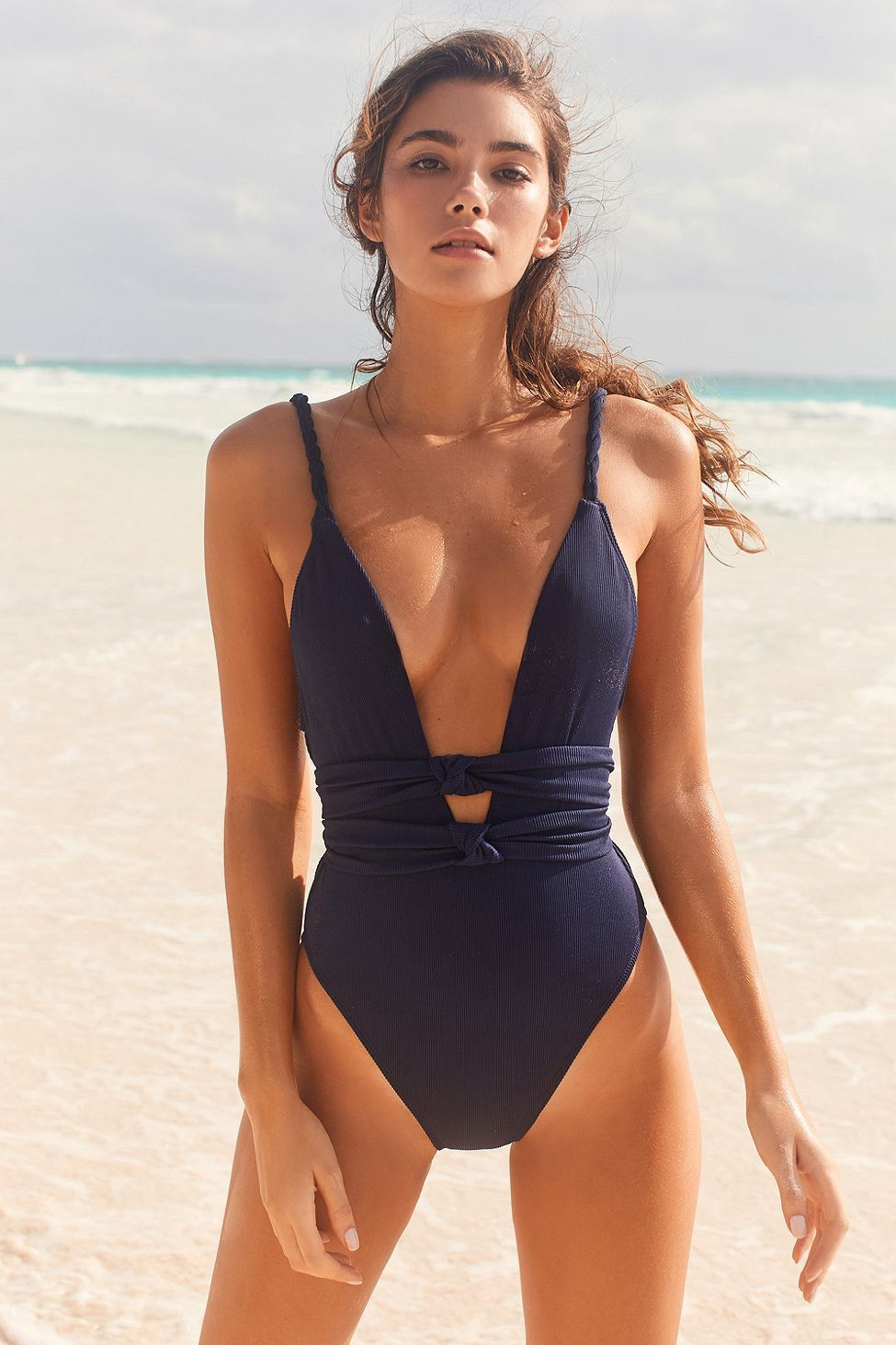 9d1b196a77 Urban Outfitters Out From Under Gigi Knotted One-Piece Swimsuit - Navy